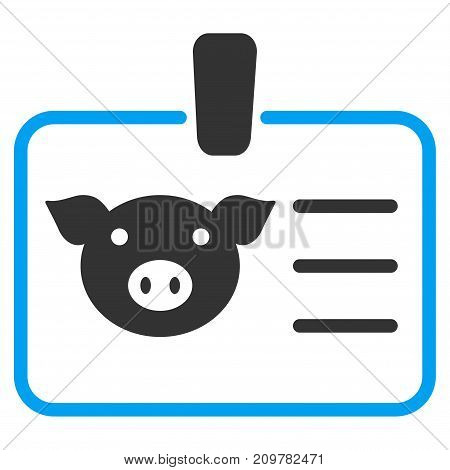 Pig Badge vector icon. Flat bicolor blue and gray symbol. Pictogram is isolated on a white background. Designed for web and software interfaces.