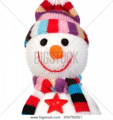 Snowman made of wool isolated on a white background. Christmas decoration
