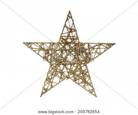 Bright golden Christmas star isolated on a white background