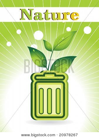 green rays background with recycle bin, leaf