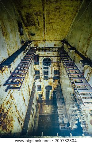 Ruined object 221, abandoned soviet bunker, former reserve command post of Black Sea Fleet