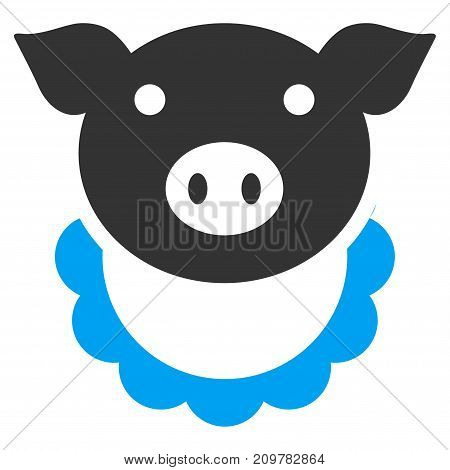 Pig Reward vector icon. Flat bicolor blue and gray symbol. Pictogram is isolated on a white background. Designed for web and software interfaces.