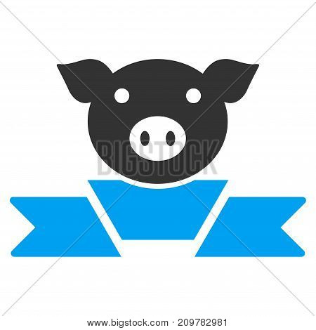Pork Award Ribbon vector icon. Flat bicolor blue and gray symbol. Pictogram is isolated on a white background. Designed for web and software interfaces.