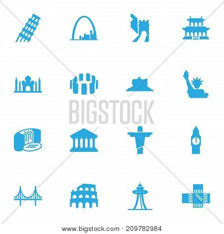 Collection Of Academy, India Mosque, Bridge And Other Elements.  Set Of 16 Famous Icons Set.