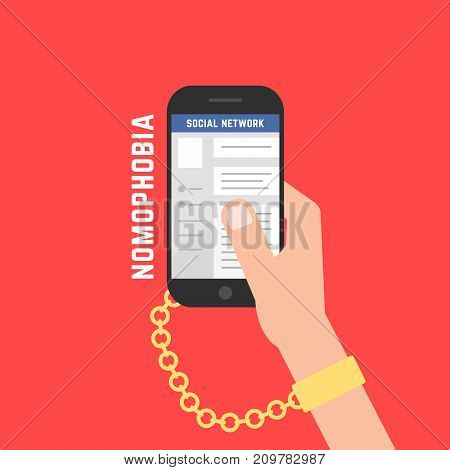 addiction from gadget with cellphone. concept of dependency on red background