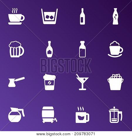 Collection Of Wine, Martini, Cask And Other Elements.  Set Of 16 Drinks Icons Set.