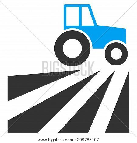 Farm Field With Tractor vector icon. Flat bicolor blue and gray symbol. Pictogram is isolated on a white background. Designed for web and software interfaces.