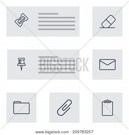 Collection Of Pushpin, Clipboard, Mail And Other Elements.  Set Of 7 Stationery Outline Icons Set.