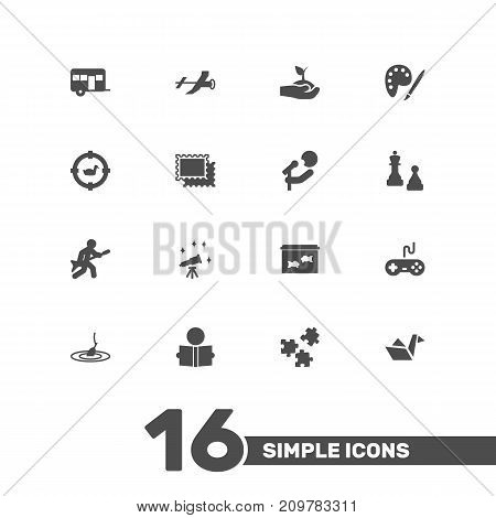Collection Of Drawing, Learning, Target And Other Elements.  Set Of 16 Lifestyle Icons Set.