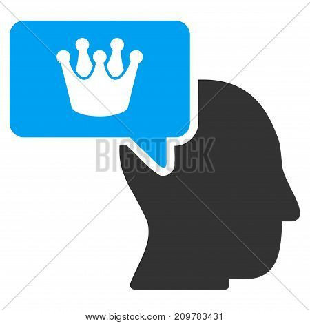 Person Dream Crown vector icon. Flat bicolor blue and gray symbol. Pictogram is isolated on a white background. Designed for web and software interfaces.