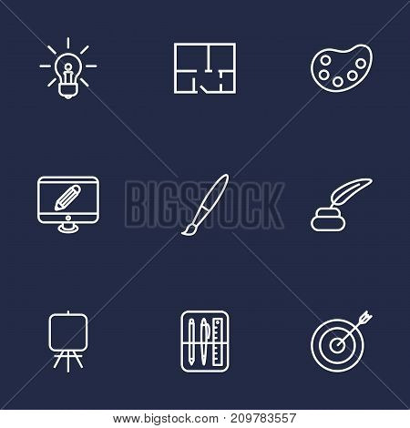 Collection Of Monitor, Target, Inkwell With Pen And Other Elements.  Set Of 9 Constructive Outline Icons Set.