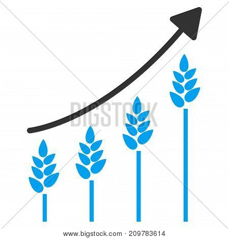 Wheat Growing Chart vector icon. Flat bicolor blue and gray symbol. Pictogram is isolated on a white background. Designed for web and software interfaces.