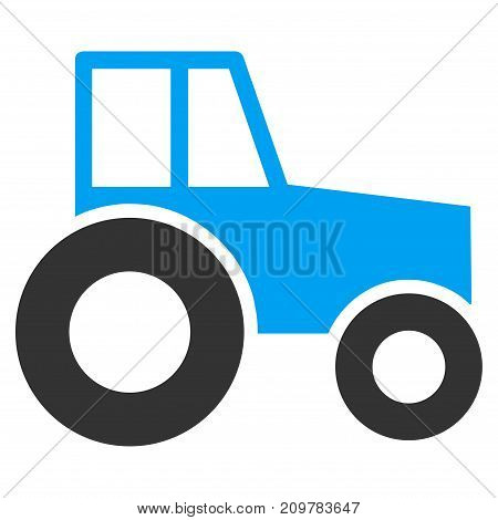 Wheeled Tractor vector icon. Flat bicolor blue and gray symbol. Pictogram is isolated on a white background. Designed for web and software interfaces.