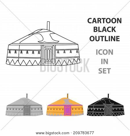Tent in the Mongolian patterns.Mongolian tent.Housing the ancient Mongols.Mongolia single icon in cartoon style vector symbol stock web illustration.