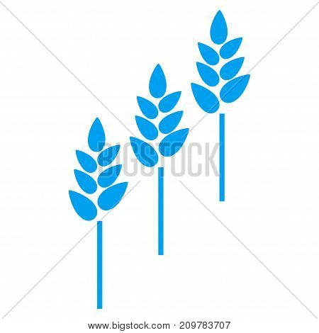 Wheat Plants vector icon. Flat blue symbol. Pictogram is isolated on a white background. Designed for web and software interfaces.