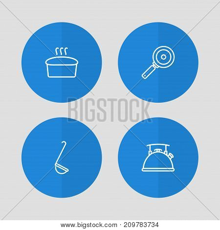Collection Of Ladle, Skillet, Kettle And Other Elements.  Set Of 4 Kitchen Outline Icons Set.