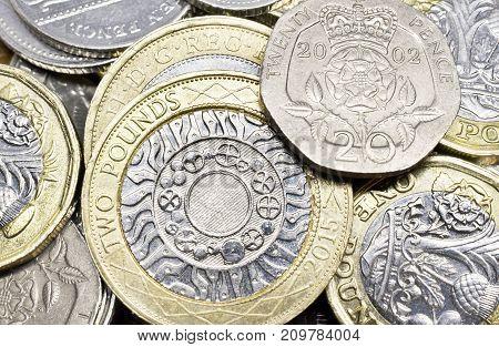 Close Up Study of Various British Coins