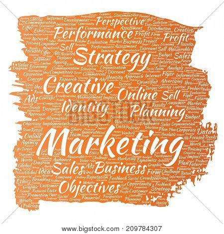 Conceptual development business marketing target paint brush word cloud isolated background. Collage advertising, strategy, promotion branding, value, performance planning or challenge