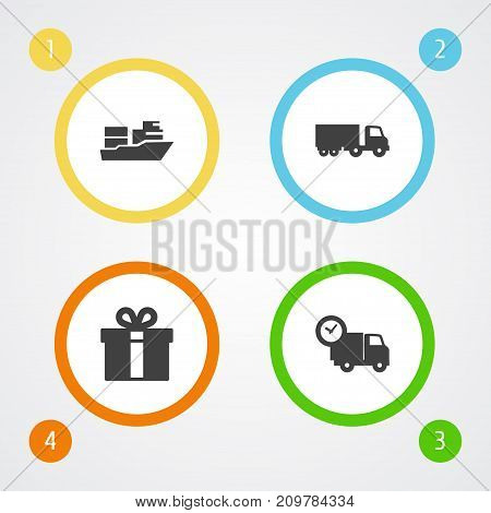 Collection Of Vessel, Van, Truck And Other Elements.  Set Of 4 Cargo Icons Set.