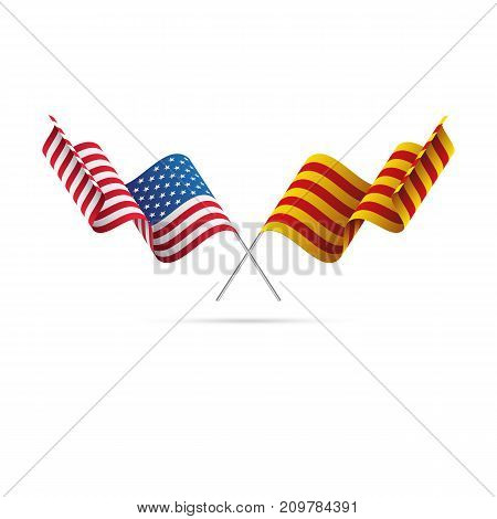USA and Catalonia flags. Waving flags. Vector illustration.