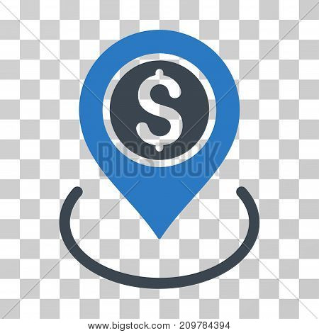 Bank Place icon. Vector illustration style is flat iconic bicolor symbol, smooth blue colors, transparent background. Designed for web and software interfaces.
