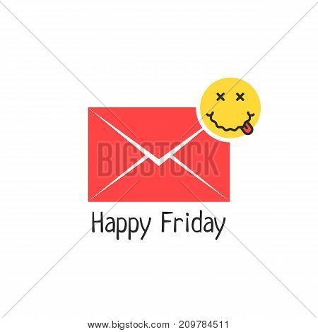 happy friday message with drunk emoji. concept of avatar, illness, sickness, flu, ill, symptom, disease, alcoholic, inebriation. flat style trend modern logotype graphic design on white background