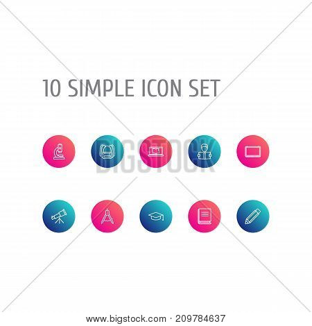 Collection Of Compass, Telescope, Encyclopedia And Other Elements.  Set Of 10 Science Outline Icons Set.