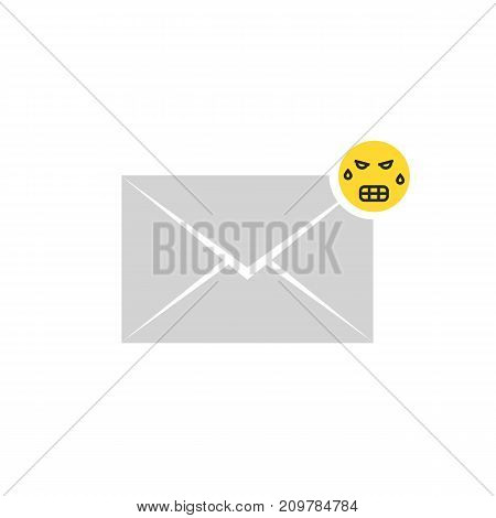 gray angry message letter icon with emoji. concept of sms, spam correspondence on white background