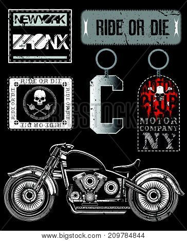 Motorcycle Vector Elements Set fashion style new art