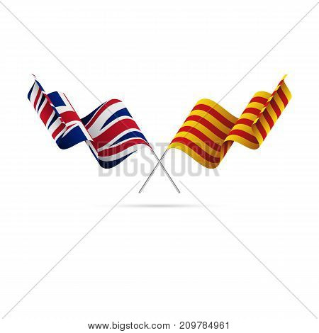 Great Britain and Catalonia flags. Vector illustration.