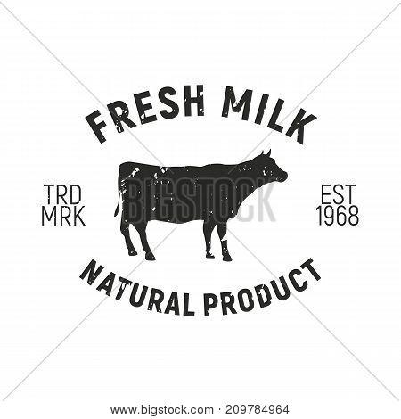 Fresh Milk - Cow vintage logo concept. Cow silhouette. Grunge texture