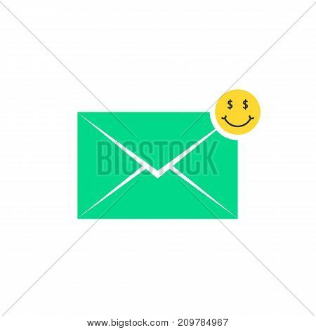 green commercial offer letter icon with emoji. concept of promo, win, cartoon avatar, wealthy, information, prize, advertisement. flat style trend modern logo graphic design on white background