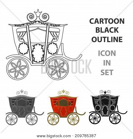 Wedding carriage. A carriage for the bride and groom.Wedding single icon in cartoon style vector symbol stock web illustration.