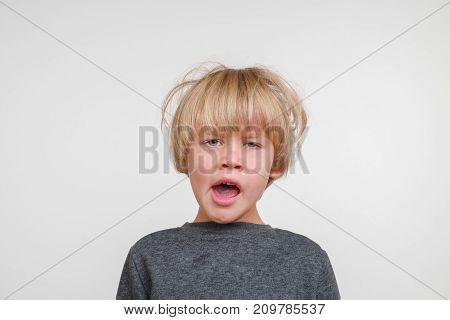 Cool horisontal portrait of handsome happy child