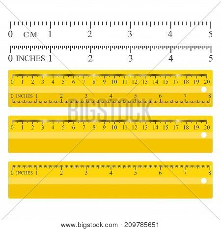 Color yellow measuring rulers set, centimeters and vectors, stationery