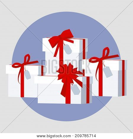 Pile of wrapped gift boxes. Christmas and birthday presents with tags. Isolated vector illustration