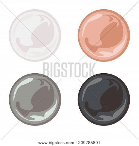 Set of nature colored pearl. Soap bubble, circle, sphere, ball, glossy - vector