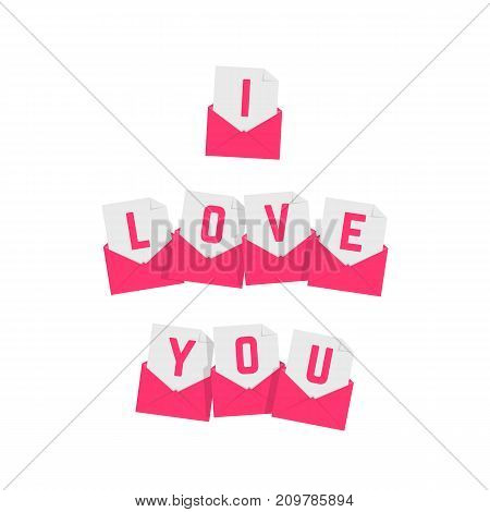 i love you text of pink letters. concept of valentines day, festive, amour, feeling, passion on white background