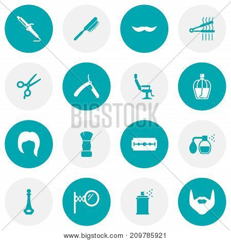 Collection Of Razor, Shears, Elbow Chair And Other Elements.  Set Of 16 Barber Icons Set.