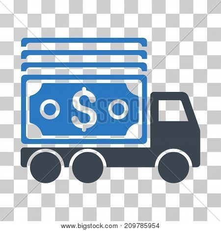 Cash Lorry icon. Vector illustration style is flat iconic bicolor symbol, smooth blue colors, transparent background. Designed for web and software interfaces.