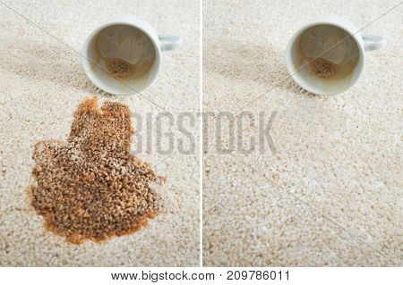 Collage Of Two Images Showing Before And After Carpet Cleaning