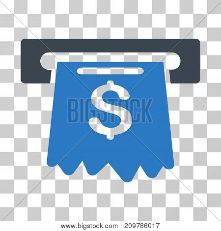 Cash Machine icon. Vector illustration style is flat iconic bicolor symbol, smooth blue colors, transparent background. Designed for web and software interfaces.
