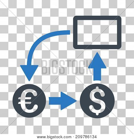 Cashflow Euro Exchange icon. Vector illustration style is flat iconic bicolor symbol, smooth blue colors, transparent background. Designed for web and software interfaces.