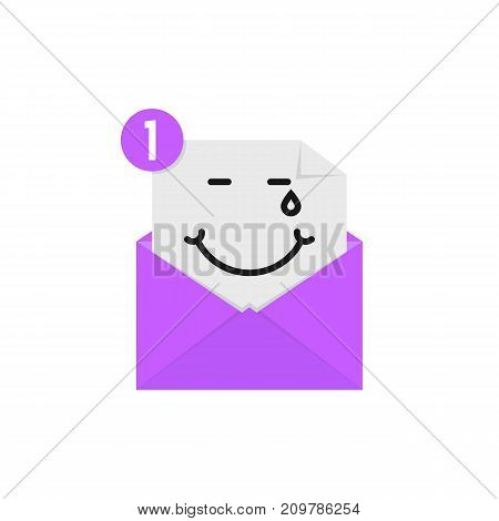 blissful emoji in purple letter notification. concept of amused, tears of happiness on white background