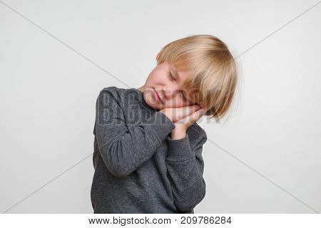 New Cute horisontal photo of handsome happy caucasian child