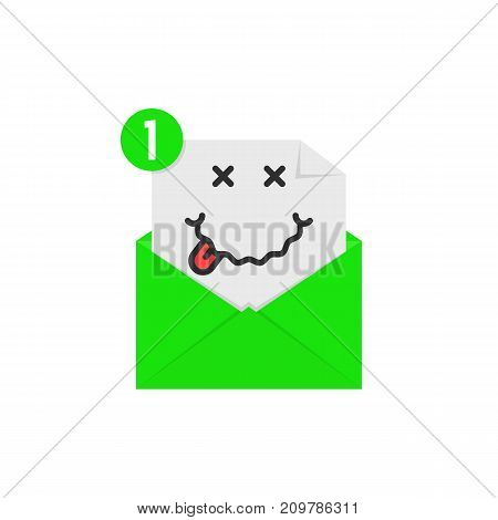 drunk emoji in green letter notification. concept of booze on white background