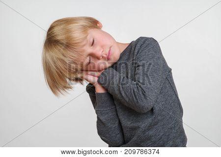 New horisontal photo of handsome happy caucasian child