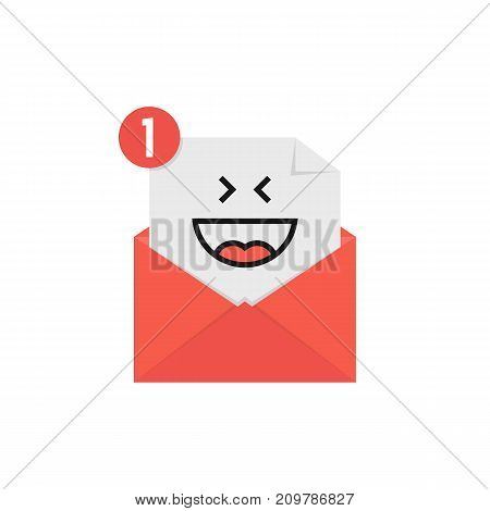 happy emoji in red letter notification. concept of laughing on white background