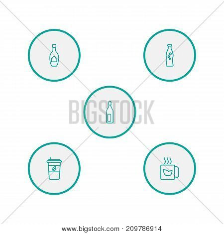 Collection Of Bottle, Mug, Champagne And Other Elements.  Set Of 5 Drinks Outline Icons Set.