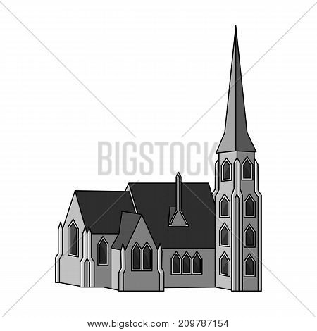 Building, single icon in monochrome style.Building, vector symbol stock illustration .